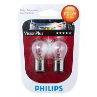 Лампа PHILIPS P21W 12V 21W +50%, комплект 2шт, 12498VP2