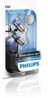 Лампа PHILIPS T4W BlueVision Ultra 12V 4W комплект 2шт, 12929BVB2