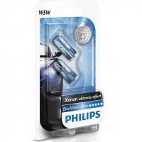 Лампа PHILIPS W5W BlueVision Ultra 12V 5W комплект 2шт, 12961BVB2
