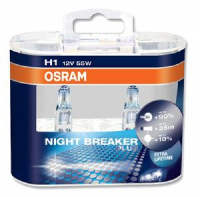 Галогенная лампа OSRAM Night Breaker H1 12V 55W +90% комплект 2шт, 64150NBR-DUOBOX