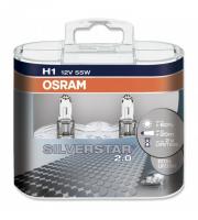 Галогенная лампа OSRAM SilverStar +50% H1 12V 55W комплект 2шт, 64150SVS-DUOBOX