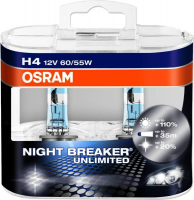 Галогенная лампа OSRAM Night Breaker Unlimited +110% H4 12V 60/55W комплект 2шт, 64193NBU-DUOBOX