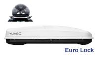 Автобокс YUAGO Antares GT600 Euro Lock белый тиснение 217х85х48 двусторонее открывание (Бокс-багажник на крышу с евро лок Яго Антарес, ДжиТи600)