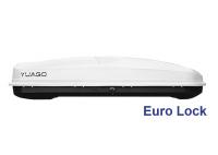 Автобокс YUAGO Antares GT600 Euro Lock белый тиснение 217х85х48 одностороннее открывание (Бокс-багажник на крышу с евро лок Яго Антарес, ДжиТи600)