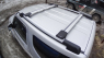 Багажник на крышу на высокие рейлинги Ficopro R56-S аэродинамические крыловидные поперечины, 1100-1200мм и 1040-1140мм (Фикопро, комбинированный серебристый)