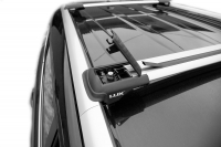 Багажник на крышу на высокий рейлинг LUX Hunter Renault Duster 2015+ Nissan Terrano серебристый (люкс хантер рено дастер ниссан террано) 793518