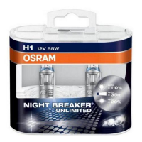 Галогенная лампа OSRAM Night Breaker Unlimited H1 12V 55W +110%, комплект 2шт, 64150NBU-DUOBOX