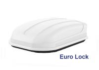 Автобокс YUAGO Pragmatic Euro Lock 410л белый, тиснение 1500х100х45 односторонее открывание (бокс-багажник на крышу с евро лок, Яго Прагматик)